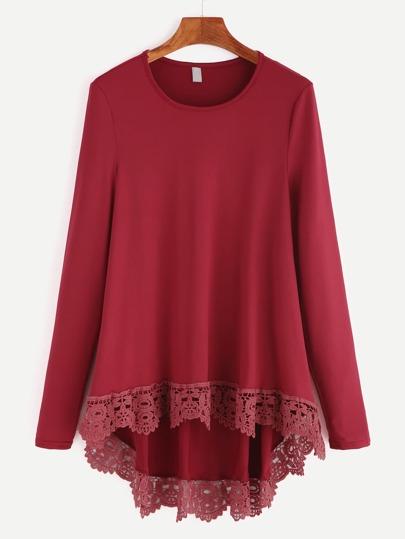 Burgundy Contrast Crochet Dip Hem T-shirt