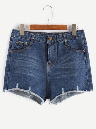 Blue Bleach Raw Hem Denim Shorts