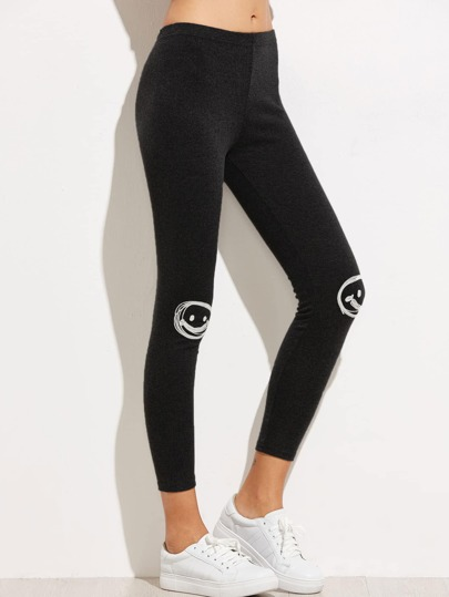 Black Appliques Trim Ankle Leggings