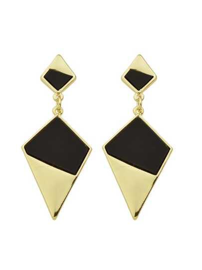 Black Color  Geometric Shape Metal Hanging Earrings