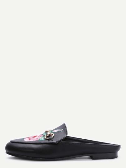 Schwarz Kunstleder Rose gestickte Beleg-auf Schuhe