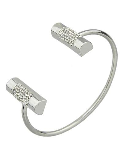 Silver Color Metal Plain Cuff Bangles