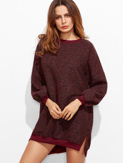 Burgundy Ribbed Slit Side High Low Sweatshirt Dress