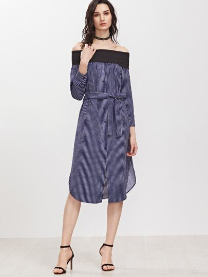 Navy Vertical Striped Contrast Off The Shoulder Belted Shirt Dress