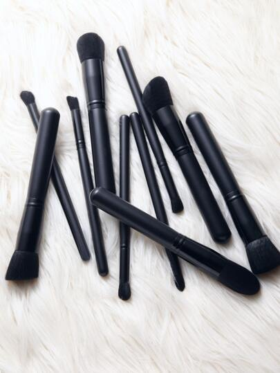 10PCS Black Metallic Makeup Brush Set