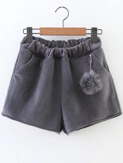 Shorts velours côtéle avec pom -gris