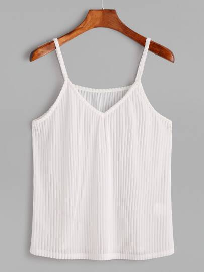 White V Neck Striped Velvet Cami Top