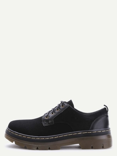 Black Suede Round Toe Lace Up Low Top Shoes