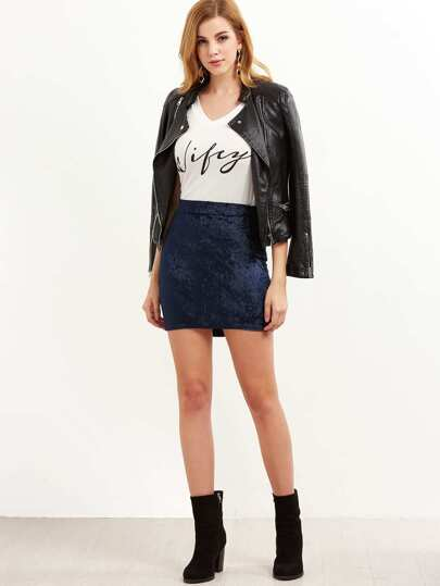 Navy Velvet Mini Bodycon Skirt