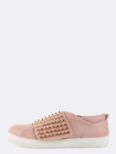 Pastel Round Toe Stud Sneakers DUSTY PINK