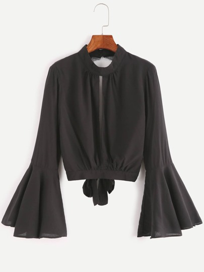 Black Split Open Back Contrast Lace Bow Tie Top