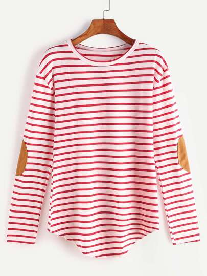 Red Striped Elbow Patch T-shirt