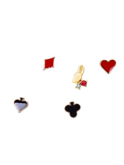 Gold Tone Poker Design Geo Stud Earring Set