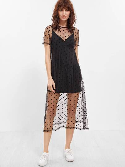 Black Sheer Polka Dot Mesh Short Sleeve Dress With Cami Top