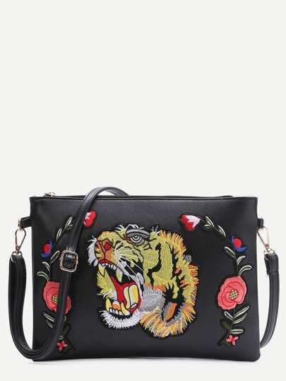 Black Tiger Embroidered Patch Faux Leather Shoulder Bag
