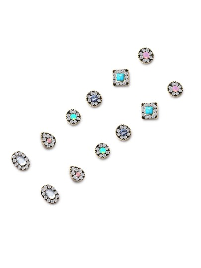 Gold Tone Gem Inlay Multi Shape Stud Earring Set