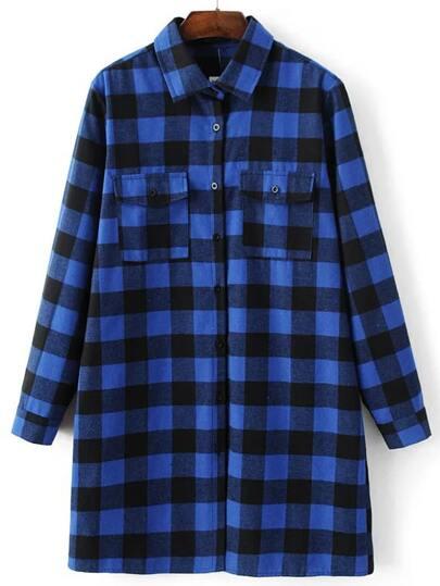 Blusa larga a cuadros con bolsillo - azul