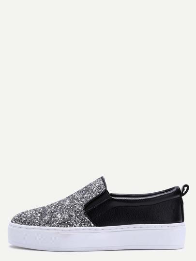 Chaussures de sport slip-on avec paillettes semelle en caoutchouc -noir et argenté