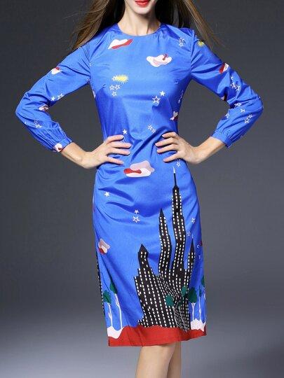 Robe fourreau à col roulé imprimé -bleu
