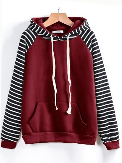 Contrast Striped Raglan Sleeve Hooded Pocket Sweatshirt