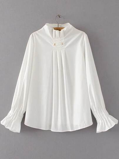 White Pleated Detail Dip Hem Blouse