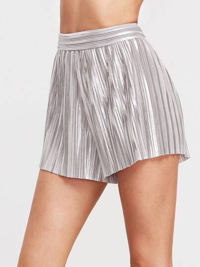 Metallic Silver Elastic Waist Pleated Shorts