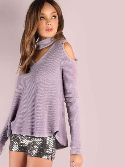 Purple Cutout Choker Neck Open Shoulder Ribbed T-shirt