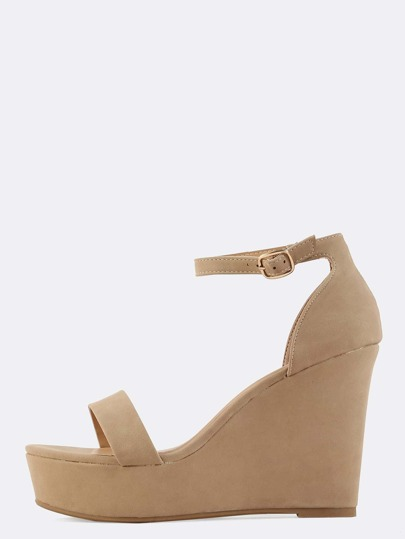 Open Toe Ankle Strap Wedges NATURAL