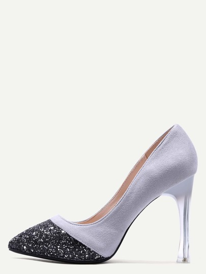 Grey Embellished Toe Suede Leather Sheer Heel Pumps