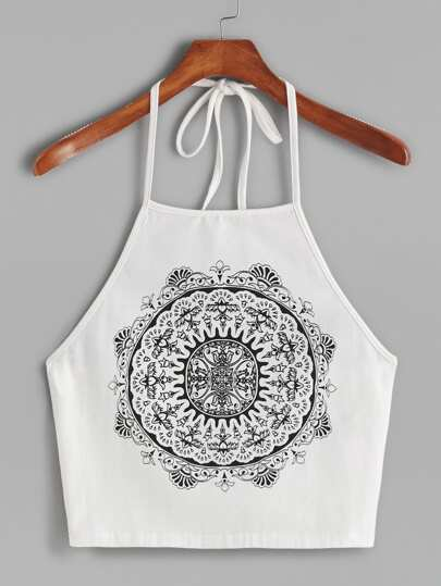 White Vintage Circle Print Halter Neck Cami Top