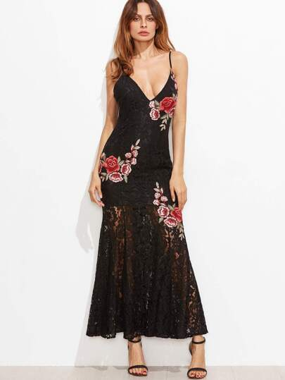 Black Embroidered Rose Applique Lace Overlay Fishtail Cami Dress