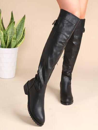 Bottes de genou à bouts en amande avec zip sur côté bouclé -noir