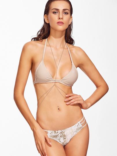 Snake Print Halter Strappy Bikini Set