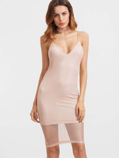 Pink Eyelet Mesh Overlay Cami Bodycon Dress