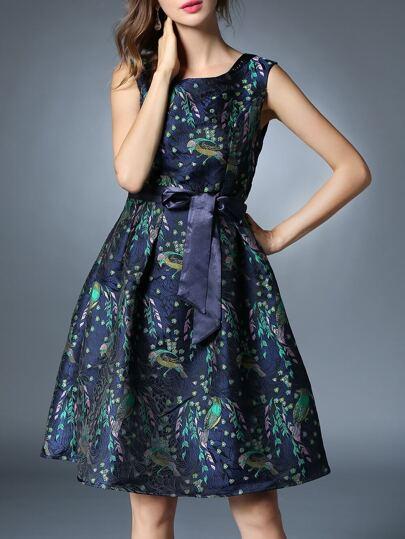 Multicolor Tie-Taille Jacquard A-Line Kleid