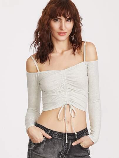 Camiseta corta con hombros al aire - blanco