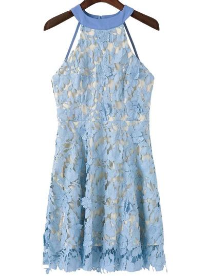 Blue Open Back Crochet Lace Overlay Dress