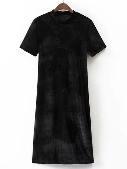 Black Green Mock Neck Short Sleeve Velvet Dress