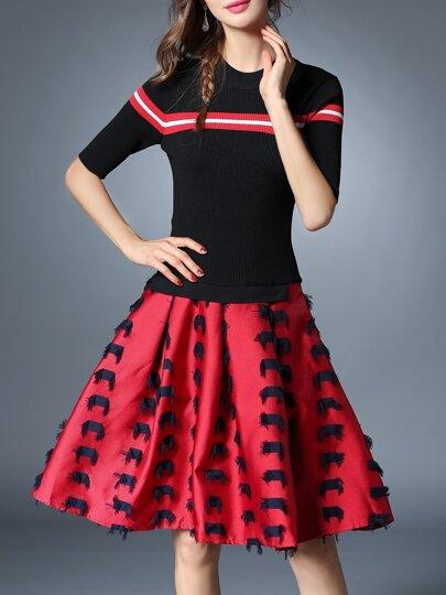 Schwarz Knit Gestreifte Combo Kleid