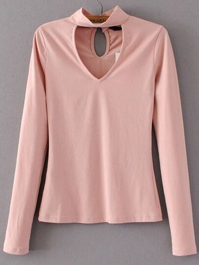 Pink Choker V Neck Casual Top