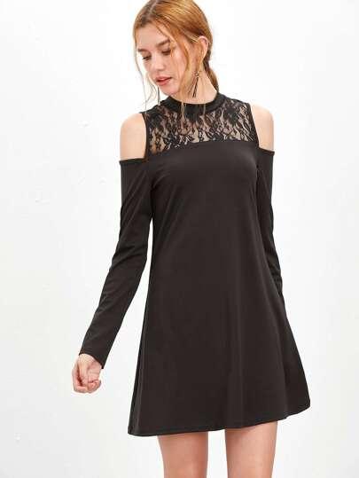 Black Floral Lace Neck Cold Shoulder A Line Dress