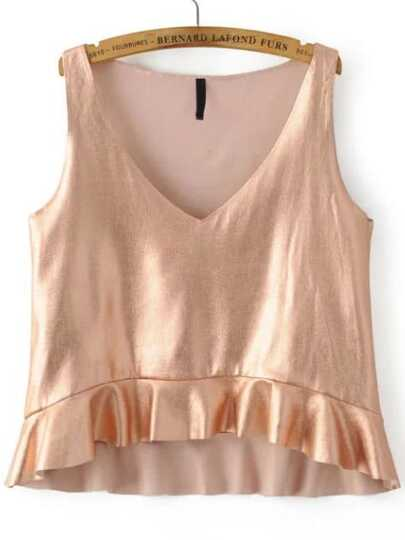 Rose Gold V Neck Ruffle Tank Top