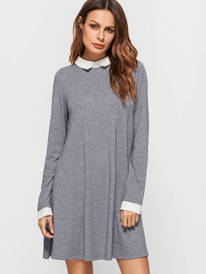 Vestido con cuello y puño en contraste - gris