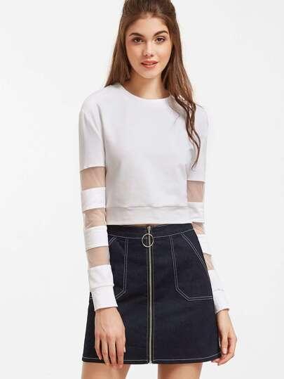 White Striped Mesh Sleeve Crop Sweatshirt