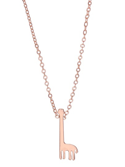 Rose Gold Palted Giraffe Pendant Necklace