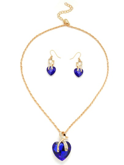 Gold Tone Heart Shape Royal Blue Gem Link Necklace Set