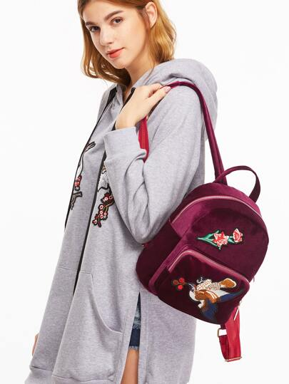 Maroon Bird Embroidered Pocket Front Velvet Backpack