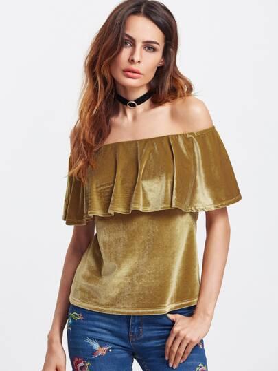 Золотистая бархатная блуза с открытыми плечами