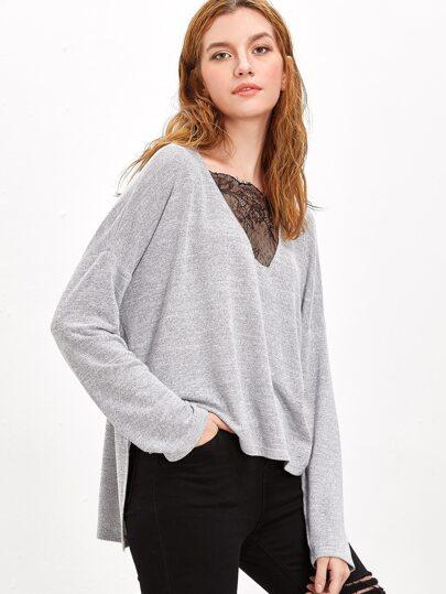 Grey Marled Lace V Neck Drop Shoulder High Low T-shirt