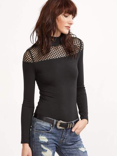 Black High Neck Mesh Shoulder Slim Fit T-shirt